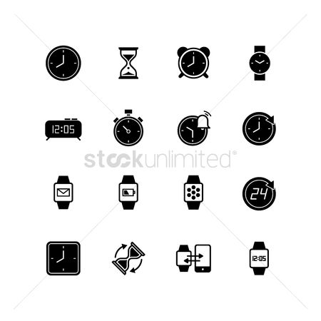 Wristwatch : Set of time icons