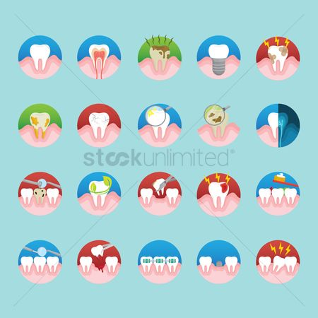 Tooth with braces : Set of tooth icons