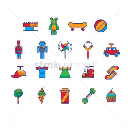 Play kids : Set of toys and snack icons