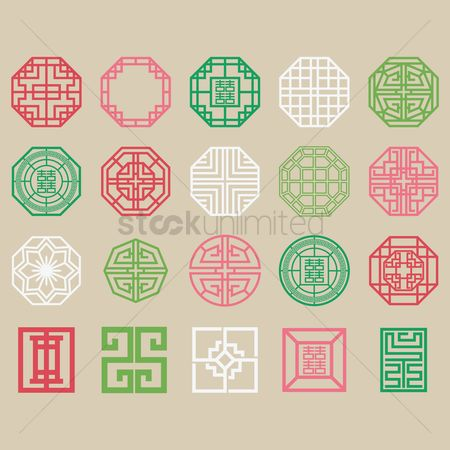 Traditions : Set of traditional korean patterns