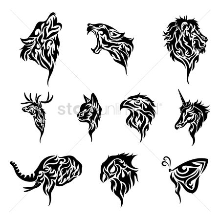 Hawks : Set of tribal tattoos