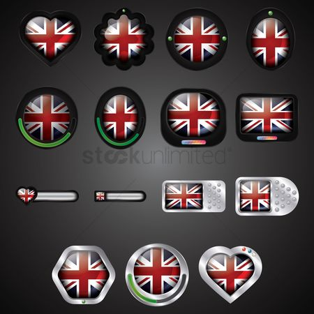 Nationality : Set of uk buttons