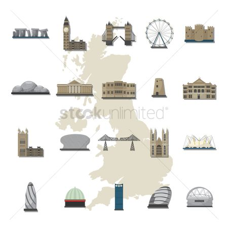 Borders : Set of uk landmarks