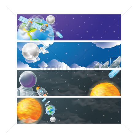 Moon : Set of universe banners