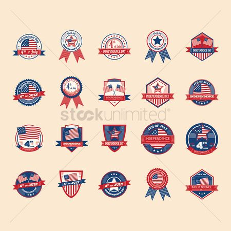 Insignias : Set of us independence day labels