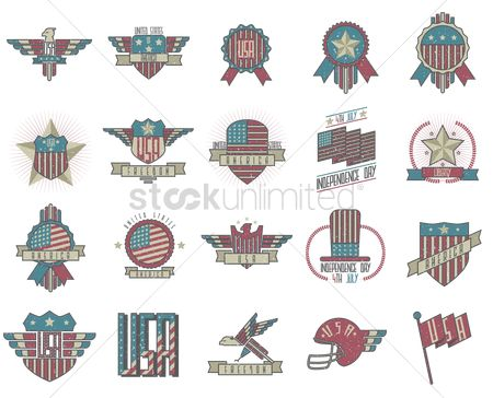 Flag : Set of usa emblems