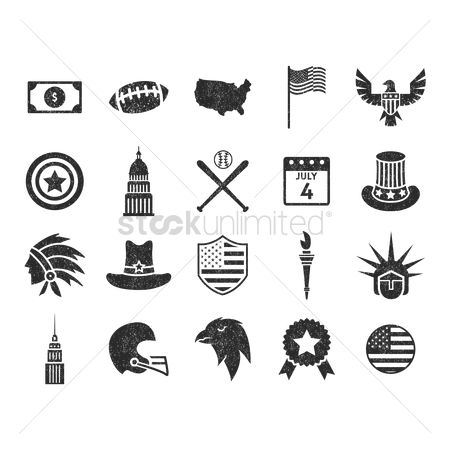 Headdress : Set of usa icons