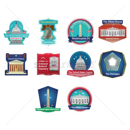 White house : Set of usa labels