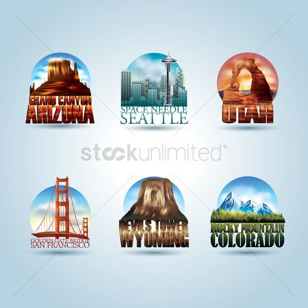 Needle : Set of usa landmark posters