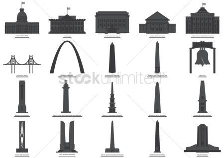 Monuments : Set of usa monuments