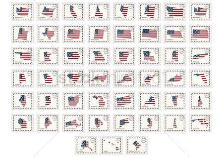 Flag : Set of usa postage stamps