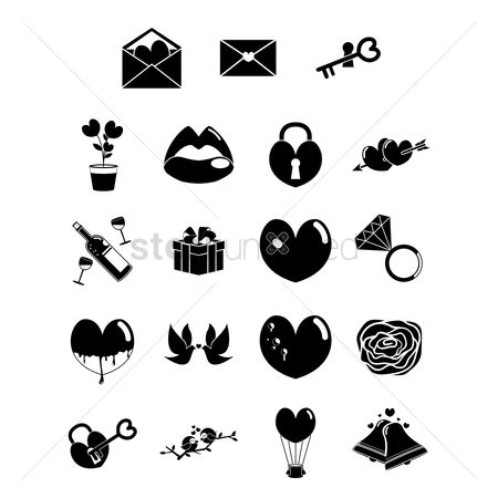 Flower pot : Set of valentine icons