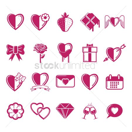 Love speech bubble : Set of valentine icons