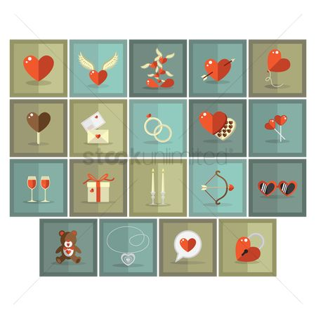Teddybear : Set of valentine s icons