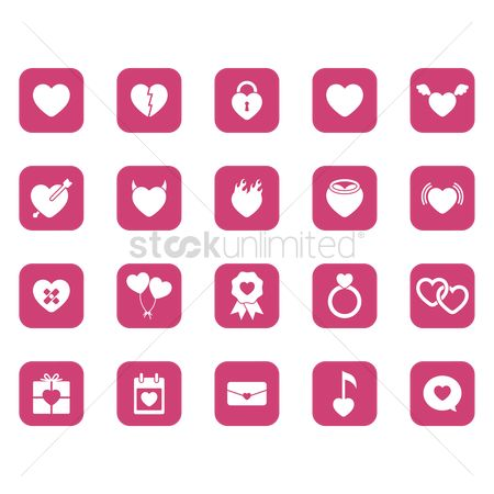 Horns : Set of valentines day icons