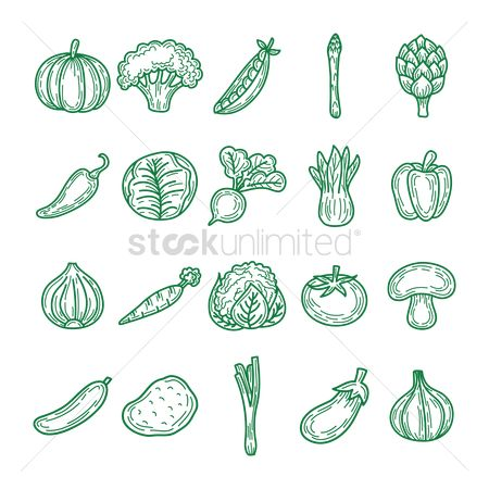 Green capsicum : Set of vegetable icons
