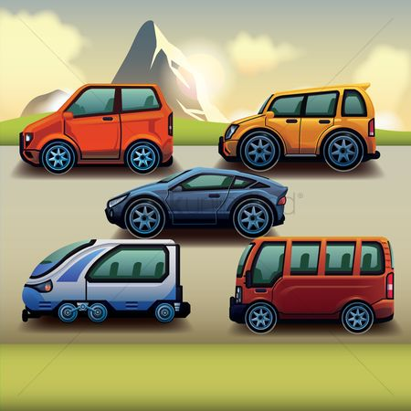 Electric cars : Set of vehicles