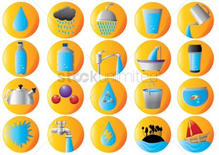 Faucets : Set of water icons