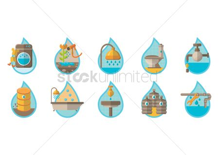Washing machine : Set of water icons
