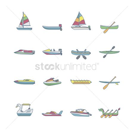 Paddle : Set of water vessel icons