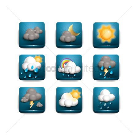 Temperatures : Set of weather icons