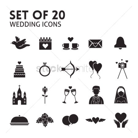 Love speech bubble : Set of wedding icons