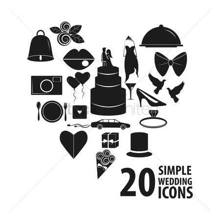 Plates : Set of wedding icons