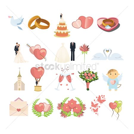 Weddings : Set of wedding items