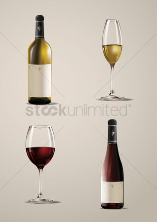 Alcohols : Set of wine bottles and glasses