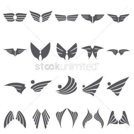 Feather : Set of wings icon