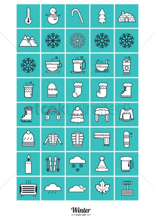Mitten : Set of winter icons
