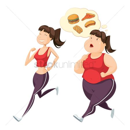 Weight : Set of woman jogging icons