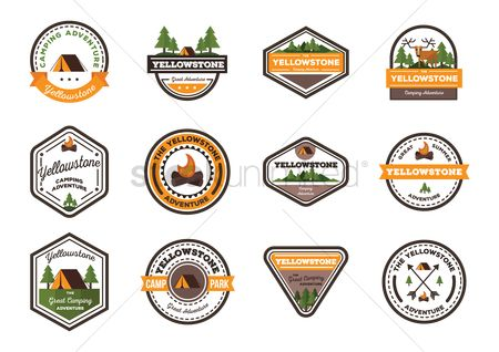Summer : Set of yellowstone labels