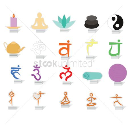 Teapot : Set of yoga icons