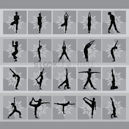 Health : Set of yoga icons