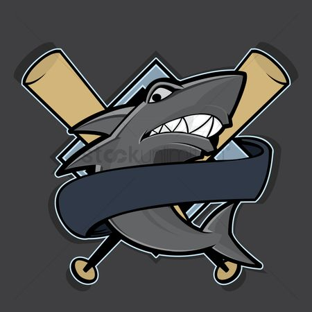 Baseball : Shark with baseball bat label