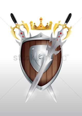 Crown : Shield with swords and crown