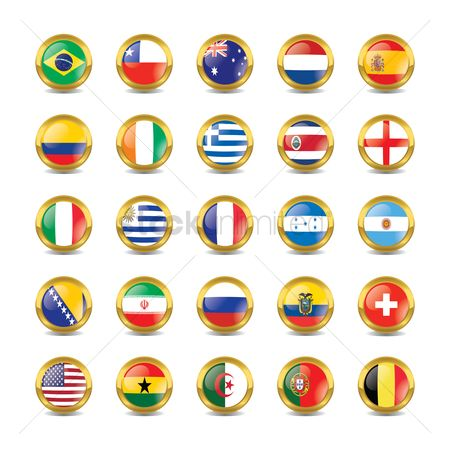 Coast : Shiny button flags with golden frame
