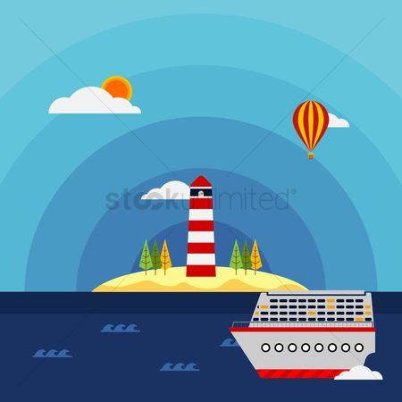 Lighthouses : Ship on the seascape background