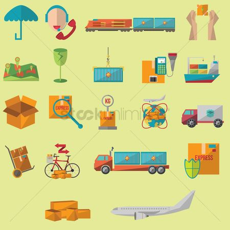 Aeroplanes : Shipping and logistic icons collection