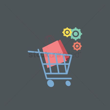 Customers : Shopping cart with bag