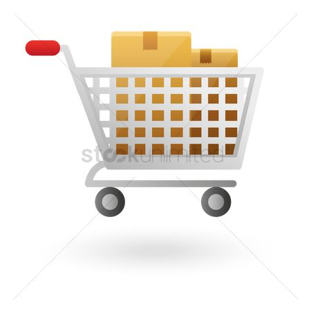 Hypermarket : Shopping cart with cardboard boxes