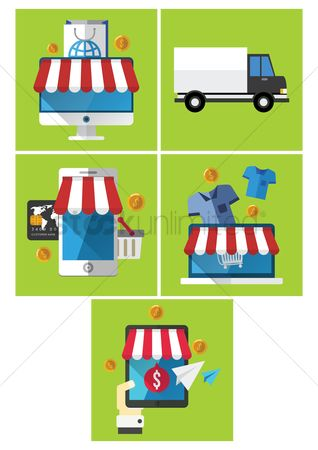 Online shopping : Shopping icons set
