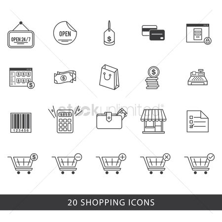 Linear : Shopping icons