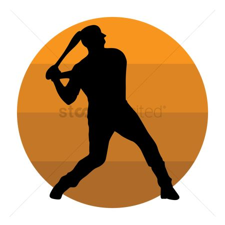 Baseball : Silhouette of a baseball player