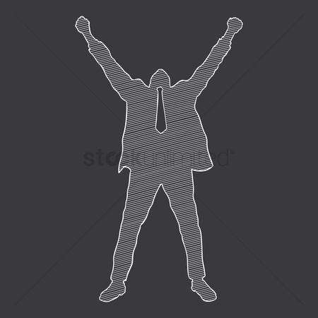 Cheering : Silhouette of a businessman cheering