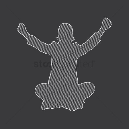 Cheering : Silhouette of a businesswoman cheering