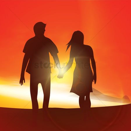 Sunray : Silhouette of a couple holding hands
