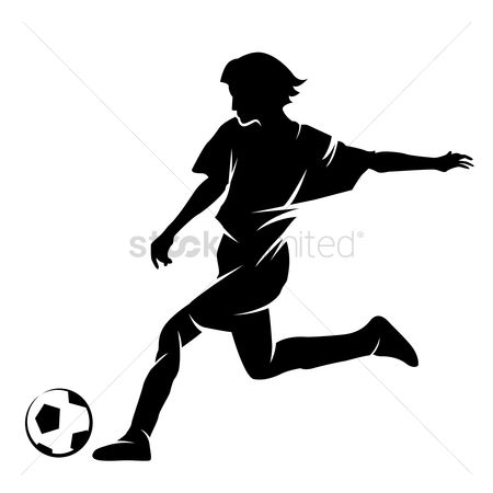 Soccer : Silhouette of a footballer with a ball