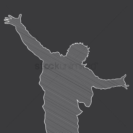 Cheering : Silhouette of a man cheering